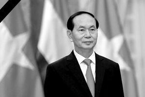 Đoàn viếng Chủ tịch nước mang băng tang, không mang vòng hoa
