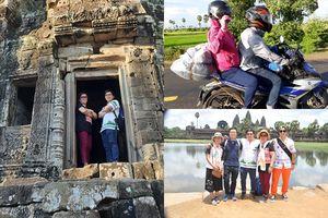 Sau chuyến xuyên Việt, chàng trai trẻ tiếp tục cùng mẹ du hí sang 'láng giềng' Campuchia bằng xe máy