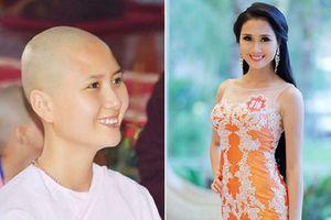 Ngỡ ngàng với hình ảnh người đẹp có mái tóc đẹp nhất Hoa hậu Việt Nam 2014 đã xuống tóc xuất gia ở tuổi 24