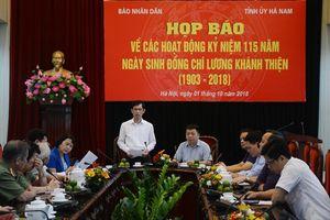 Nhiều hoạt động kỷ niệm 115 năm ngày sinh đồng chí Lương Khánh Thiện
