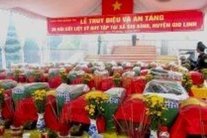 Truy điệu và an táng 36 hài cốt liệt sĩ mới phát hiện ở Gio Linh
