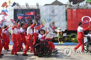 Giới chức Hàn Quốc tham dự buổi lễ chào đón đoàn Triều Tiên tại Asian Para Games 2018