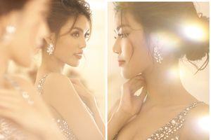 Cận cảnh chiếc váy cưới đính 10.000 viên pha lê của Hoa khôi Lan Khuê