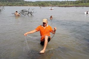 Thủy điện Trị An ngưng xả lũ, người dân hào hứng bắt cá 'khủng'