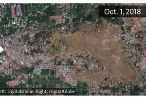 Hình ảnh vệ tinh khoảnh khắc 'đất hóa lỏng' biến dạng hòn đảo Indonesia