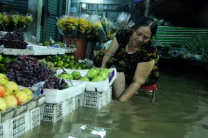Khổ như tiểu thương Sài Gòn 'chạy' triều cường từ 3h sáng