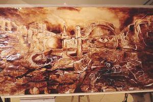 Bức tranh ấn tượng được vẽ từ hơn 100 ly cà phê
