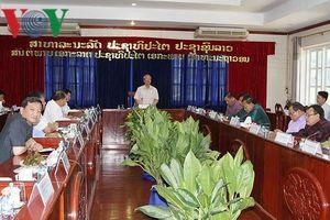 Thường trực Ban Bí thư Trần Quốc Vượng thăm tỉnh Vientiane