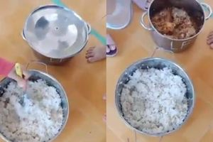 Phụ huynh phẫn nộ chứng kiến trường mầm non dùng gạo mốc xanh nấu cơm, dùng đầu cá làm thức ăn cho trẻ