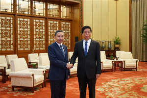 Bộ trưởng Tô Lâm tiếp kiến Chủ tịch Quốc hội Trung Quốc