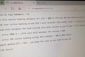 Hacker tấn công website Ngân hàng Hợp tác xã VN, đòi tiền chuộc 100.000 USD