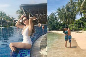 'Vàng Anh' diện bikini khoe dáng nuột, tình tứ hôn chồng trên bãi biển