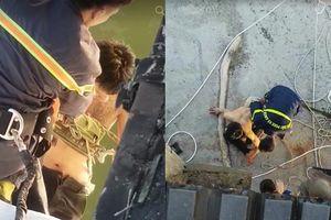 Đà Nẵng: Gay cấn giải cứu thanh niên bị ngáo đá cố thủ trên dây cáp cầu Thuận Phước