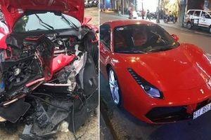 Siêu xe Ferrari của Tuấn Hưng nghi gặp nạn, đầu xe nát bét trên cao tốc Nội Bài - Lào Cai