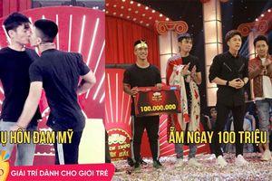 Gây shock với cảnh 'khóa môi' trên sân khấu, hai thí sinh nam 'ẵm trọn' 100 triệu ở 'Thách thức danh hài'