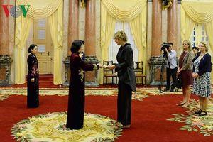 Quyền Chủ tịch nước Đặng Thị Ngọc Thịnh tiếp các Đại sứ trình Quốc thư