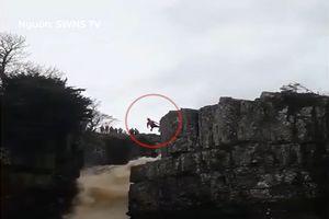 Chàng trai suýt chết khi lao mình vào con thác dữ