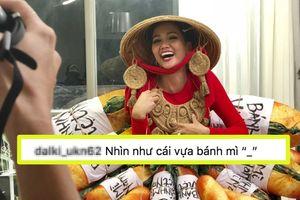 Vận thiết kế lạ trước thềm Miss Universe 2018, H'Hen Niê khiến dân tình xôn xao: 'Cô ấy định mở vựa bánh mì?'