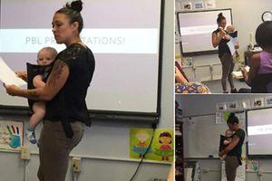 Thời này cần gì ngại chuyện mang bầu lúc đi học khi GS vừa giảng bài vừa bế con hộ sinh viên