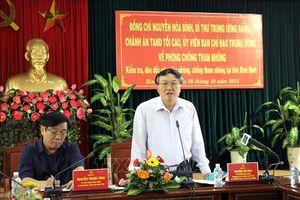 Đoàn công tác Ban Chỉ đạo Trung ương về phòng, chống tham nhũng làm việc tại Bình Định