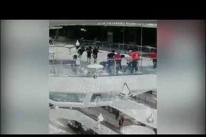 Bước hụt, nữ nhân viên rơi xuống bể cá mập tại trung tâm mua sắm