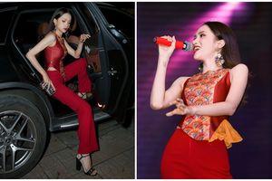 Hương Giang hóa 'phượng hoàng lửa' khi diện trang phục họa tiết truyền thống đỏ rực