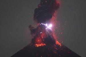 Sét lóe sáng trên miệng núi lửa phun trào ở Indonesia