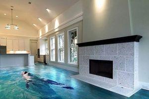 Những sàn nhà lát hình 3D khiến căn phòng như hòa mình vào thiên nhiên