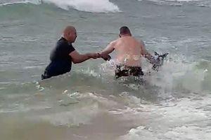 Cảnh sát cởi áo, nhảy xuống biển cứu kangaroo chết đuối