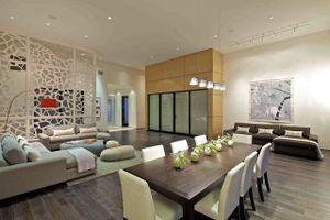 Các mẫu vách ngăn phòng khách và bếp bằng gỗ, kính đẹp khó cưỡng