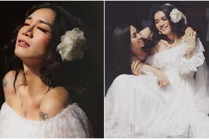 BB Trần diện váy cô dâu trong bộ ảnh cưới 'kiêu sa' cùng Hải Triều, rộ nghi vấn chuẩn bị đi 'bắt chồng'?
