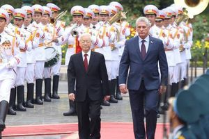 Cận cảnh Tổng Bí thư, Chủ tịch nước Nguyễn Phú Trọng đón Chủ tịch Cuba