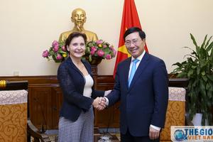 Phó Thủ tướng Phạm Bình Minh tiếp Đại sứ Italy Cecilia Piccioni chào từ biệt