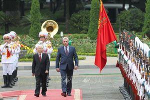 Lễ đón Chủ tịch Cuba Miguel Díaz-Canel thăm hữu nghị chính thức Việt Nam
