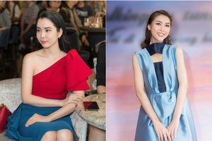 Tường Linh hóa cô tiên xanh, Hoa hậu Huỳnh Vy diện đồ colour block sành điệu xuất hiện trong sự kiện thời trang
