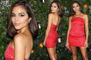 Olivia Culpo đầm đỏ siêu ngắn quá đỗi gợi tình dự tiệc tối