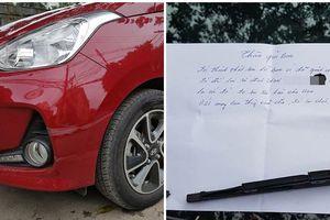 Đỗ xe bên đường khi quay lại, chủ xe phát hiện thấy vết xước và mảnh giấy nhắn đầy thú vị