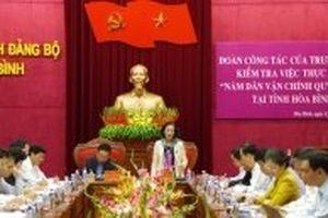 Kiểm tra việc thực hiện 'Năm dân vận chính quyền' tại tỉnh Hòa Bình