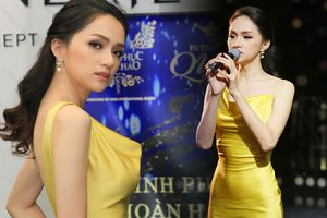 Mặc đầm vàng rực rỡ, Hương Giang quả xứng danh tượng đài nhan sắc