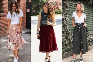 Công thức phối áo thun với chân váy vintage cho nàng xinh ngất ngây