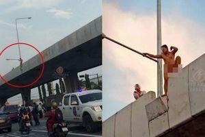 Cảnh sát 'mướt mồ hôi' giải cứu thanh niên khỏa thân định tự tử trên cầu