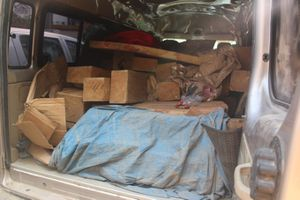Bắt giữ xe 16 chỗ gắn 2 biển số chở gần 1,5 khối gỗ lậu
