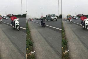 Lại xuất hiện đoàn 'phượt thủ' nối đuôi trên cao tốc Pháp Vân - Cầu Giẽ