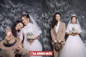 Con gái đóng vai chú rể, thỏa ước mơ chưa bao giờ được chụp ảnh cưới của mẹ già