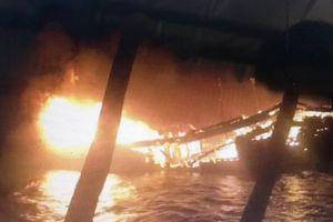 Đang neo đậu, tàu cá gần 10 tỷ đồng của ngư dân Quảng Nam bốc cháy trong đêm
