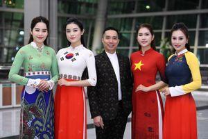 Quỳnh 'búp bê' trình diễn áo dài NTK Đỗ Trịnh Hoài Nam trên đất Hàn