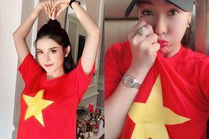 NÓNG: Á hậu Huyền My đẹp nức lòng, tạo dáng nhí nhảnh trước khi ra sân cổ vũ đội tuyển Việt Nam