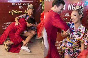 Mai Ngô 'té sấp mặt' khi trổ tài khiêu vũ trong họp báo phim ngắn của Adam Lâm
