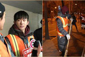 5 giờ sáng, Dịch Dương Thiên Tỉ (TFBOYS) xuống phố quét rác trong thời tiết âm độ