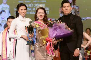 Nguyễn Thị Thành mặc áo dài ngồi ghế giám khảo cuộc thi Hoa hậu tại Hàn Quốc